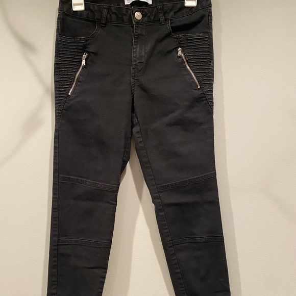 Black denim with zipper and texture detailing
